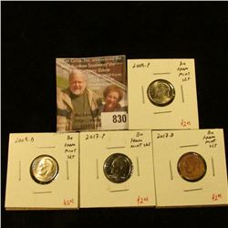 (4) Roosevelt Dimes from Mint Sets, 2009PD & 2017PD, all BU, group value $8