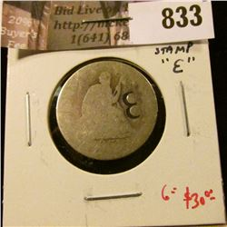 1854-O arrows Liberty Seated Quarter, AG with counter stamp, either a poorly stamped 8 or a rounded