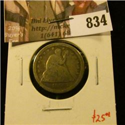 1856 Seated Liberty Quarter, G, value $25