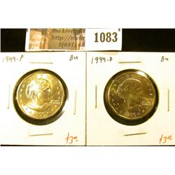 1083 . 1999-P & D Susan B. Anthony Dollars, BU, value for pair $6+