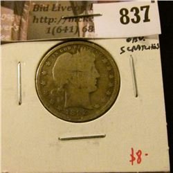 1892 Barber Quarter, G, full rims, obverse scratches, G value $8