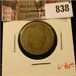 1892-O Barber Quarter, AG, G value $15