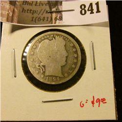 1894 Barber Quarter, G obverse, AG reverse, G value $9