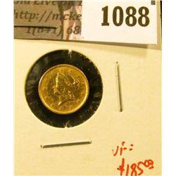 1088 . 1852 GOLD Dollar, ex-jewelry, very light solder reverse, VF