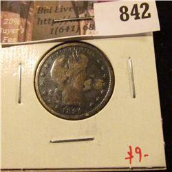 1894-S Barber Quarter, VG details dark, value $9