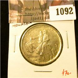 1092 . 1925 Stone Mountain Commemorative Half Dollar, AU, value $70