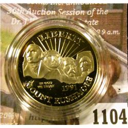 1104 . 1991-S Mount Rushmore Commemorative Half Dollar, Proof in Mi