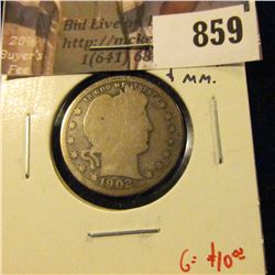 1902-O Barber Quarter, G obverse AG reverse, clear date and mintmark, G value $10