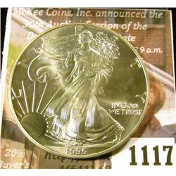 1117 . 1995 American Silver Eagle, BU in capsule, value $35