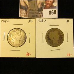 (2) Barber Quarters, 1907-O & 1908-D, both AG, value for pair $11