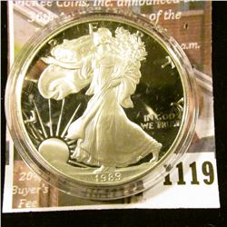 1119 . 1989 American Silver Eagle, Proof in Mint capsule, value $60