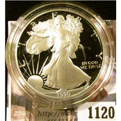 1120 . 1990 American Silver Eagle, Proof in Mint capsule, value $60