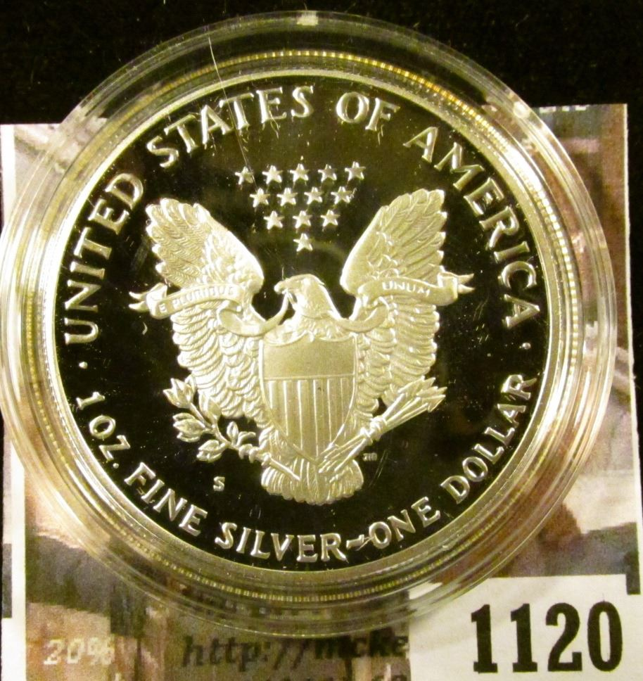 1120   1990 American Silver Eagle, Proof in Mint capsule, value $60