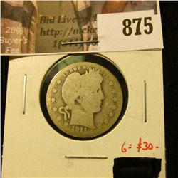 1911-D Barber Quarter, G obverse, AG reverse, tough date! G value $30