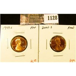 1128 . (2) Proof Lincoln Memorial Cents, 1999-S and 2001-S, value f