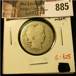 1915-S Barber Quarter, AG clear date and mintmark, low mintage semi-key date, G value $25