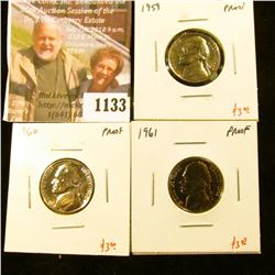 1133 . (3) Proof Jefferson Nickels, 1959, 1960, 1961, group value $