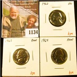 1134 . (3) Proof Jefferson Nickels, 1962, 1963, 1964, group value $