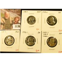 1136 . (5) Proof Jefferson Nickels, 1970-S, 1971-S, 1975-S, 1976-S