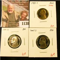 1138 . (3) Proof Jefferson Nickels, 1987-S (toned!), 1999-S, 2001-S