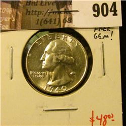 1940 Washington Quarter, BU MS65+ blemish free gem! value $48+