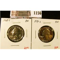 1156 . (2) Proof Washington Quarters, 1968-S & 1971-S, value for pa