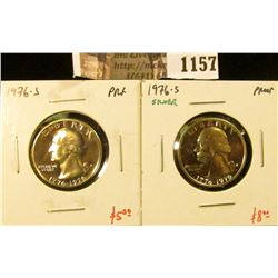 1157 . (2) Proof Washington Quarters, 1976-S & 1976-S 40% Silver, v