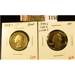 1158 . (2) Proof Washington Quarters, 1978-S & 1979-S type 1, value