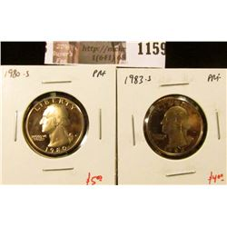 1159 . (2) Proof Washington Quarters, 1980-S & 1983-S, value for pa