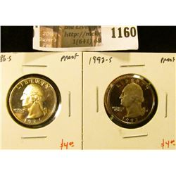 1160 . (2) Proof Washington Quarters, 1986-S & 1993-S, value for pa