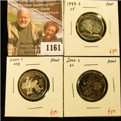1161 . (3) Proof Washington Quarters, 1999-S CT, 2000-S MA, 2000-S