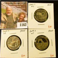 1162 . (3) Proof Washington Quarters, 2001-S KY, 2005-S OR, 2014-S