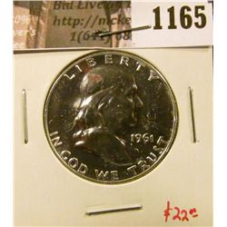 1165 . 1961 Proof Franklin Half Dollar, value $22
