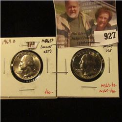 (2) Washington Quarters, 1969 & 1969-D, both BU MS65+ from Mint Sets, value $13 to $20