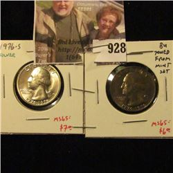 (2) Washington Quarters, 1976 BU toned & 1976-S 40% Silver BU. Both from Mint Sets, value $13+