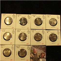 Group of 10 different 2009PD Washington Territory Quarters, DC, Puerto Rico, Guam, American Samoa, N