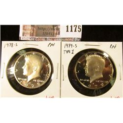 1175 . ( 2) Proof Kennedy Half Dollars, 1978-S & 1979-S type 1, val