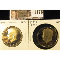1176 . (2) Proof Kennedy Half Dollars, 1980-S & 1981-S type 1, valu