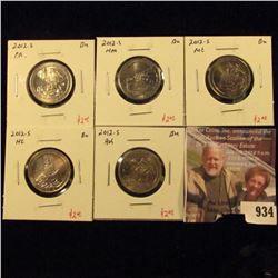 (5) different 2012-S Washington ATB Quarters, non-proof (uncirculated strike) quarters, low mintage,
