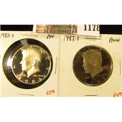 1178 . (2) Proof Kennedy Half Dollars, 1982-S & 1983-S, value for p