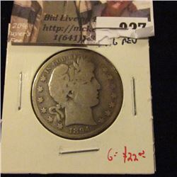 1894-S Barber Half Dollar, G+ obverse, AG reverse, G value $22