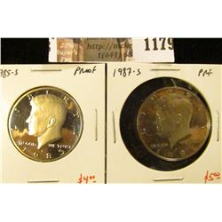 1179 . (2) Proof Kennedy Half Dollars, 1985-S & 1987-S, value for p