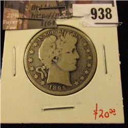 1895 Barber Half Dollar, G+, value $20