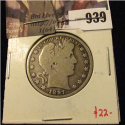 1897 Barber Half Dollar, VG, value $22
