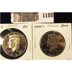 1180 . (2) Proof Kennedy Half Dollars, 1993-S & 2000-S, value for p