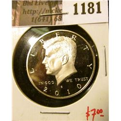 1181 . 2010-S Proof Kennedy Half Dollar, value $7