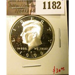 1182 . 1996-S Proof Kennedy Half Dollar, 90% Silver, value $30