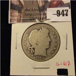 1903-S Barber Half Dollar, G obverse, AG reverse, G value $17