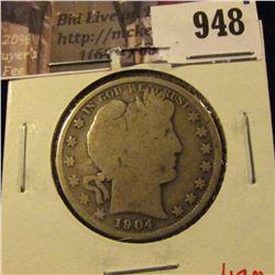 1904 Barber Half Dollar, G, value $17
