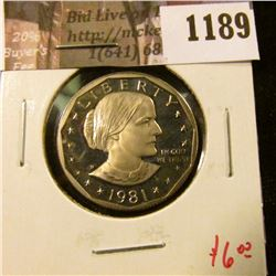 1189 . 1981-S type 1 Proof Susan B. Anthony Dollar, value $6